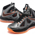 Nike Lebron X Basketball Shoes Silver Orange_3