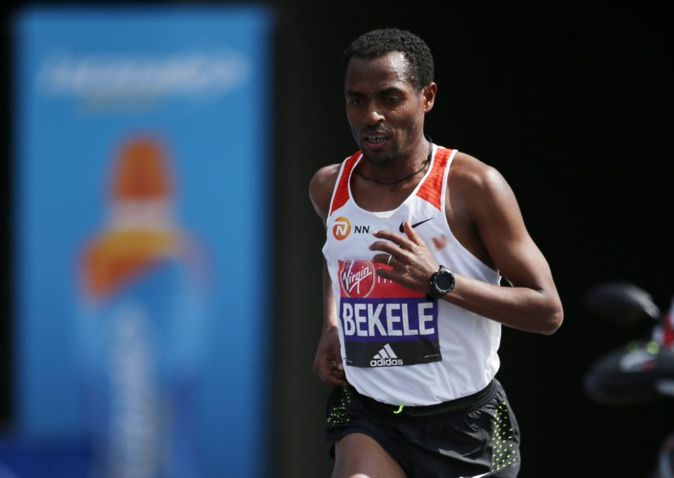Ethiopia's Kenenisa Bekele runs during the Men's elite race at the London marathon on April 23, 2017 in London. / AFP PHOTO / Daniel LEAL-OLIVASDANIEL LEAL-OLIVAS/AFP/Getty Images